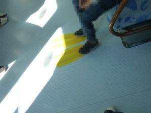 床に描かれたフィンの絵